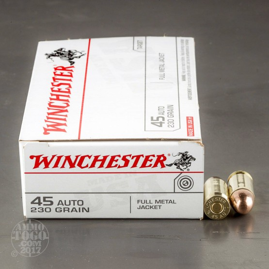 50rds - 45 ACP Winchester USA 230gr. FMJ Ammo