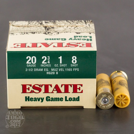 "250rds - 20 Gauge Estate 2 3/4"" 1oz. #8 Shot Heavy Game Load Ammo"