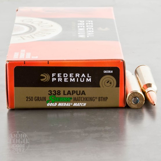 20rds - 338 Lapua Federal Gold Medal Match 250gr. Boat-Tail Hollow Point Ammo