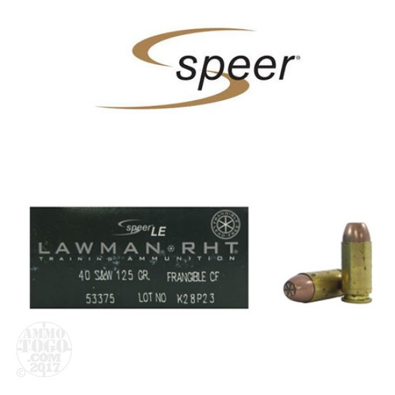 50rds - 40 S&W Speer Lawman 125gr. RHT Frangible Ammo