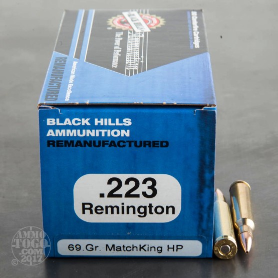 1000rds - 223 Black Hills 69gr. Re-Mfg. Sierra MatchKing Hollow Point Ammo