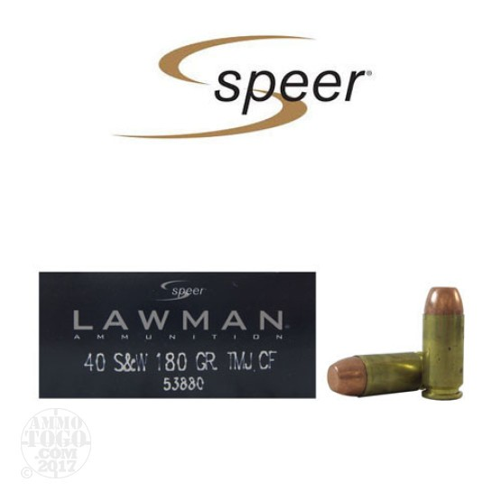 1000rds - 40 S&W Speer Lawman Clean-Fire 180gr. TMJ Ammo