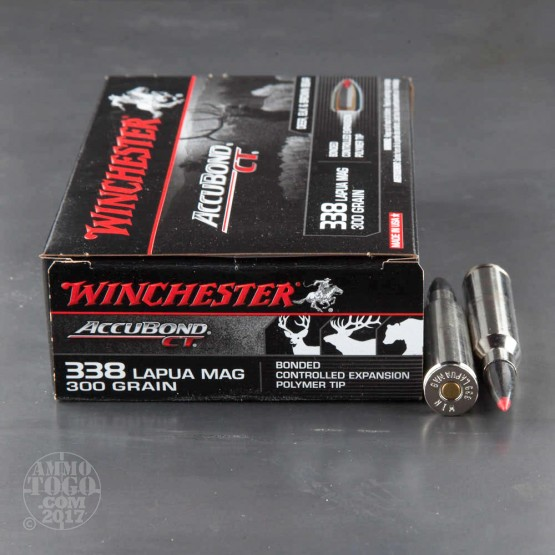 20rds - 338 Lapua Winchester Accubond CT 300gr. Bonded Controlled Expansion Polymer Tip Ammo