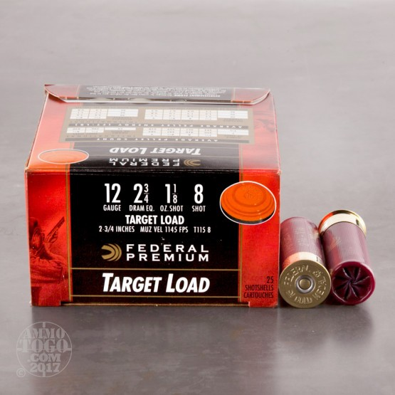 "25rds - 12 Gauge Federal Gold Medal Target Load 2 3/4"" 1 1/8 Ounce #8 Shot Ammo"