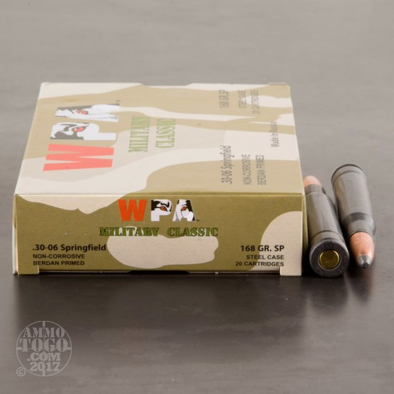 20rds - 30-06 Wolf Military Classic 168gr. SP Ammo