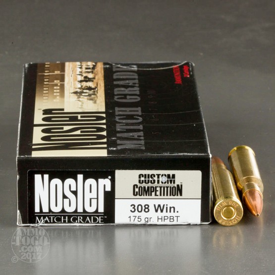 20rds - 308 Winchester Nosler Custom Competition 175gr. BTHP Ammo