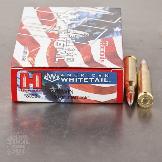 20rds - .270 Win Hornady American Whitetail 130gr. InterLock SP Ammo