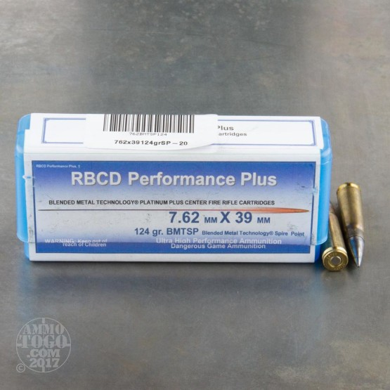 20rds - 7.62x39mm RBCD Performance Plus 124gr. BMTSP Ammo