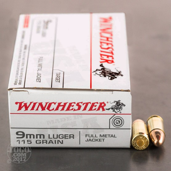 50rds - 9mm Winchester USA 115gr. FMJ Ammo
