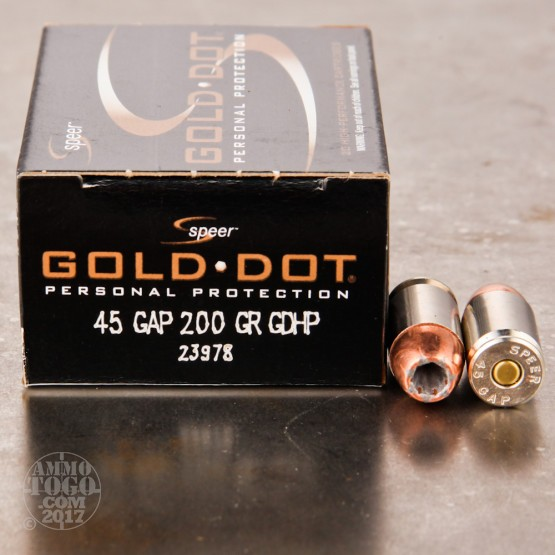 20rds - 45 GAP Speer Gold Dot 200gr. HP Ammo