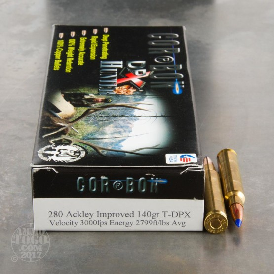 20rds - 280 Ackley Improved Corbon 140gr. DPX Ammo