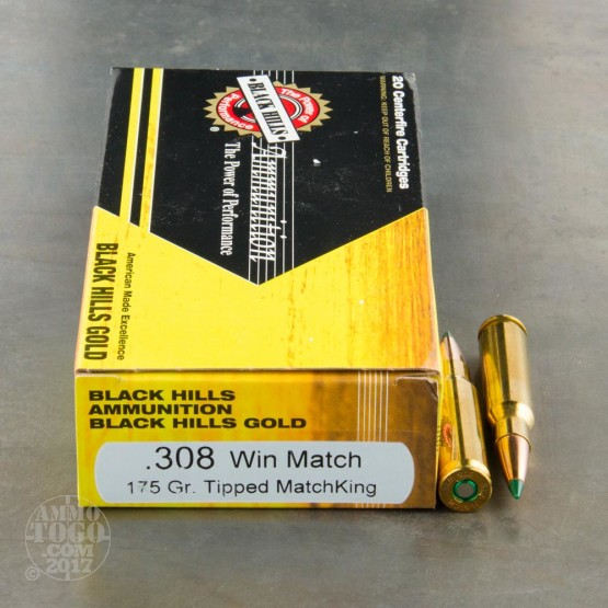 100rds - 308 Win Black Hills Gold 175gr. Tipped Matchking Polymer Tip Ammo