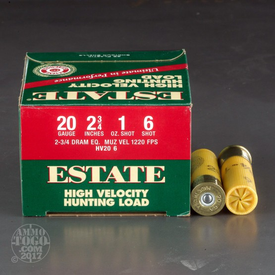 "250rds - 20 Gauge Estate HV Hunting 2 3/4"" 2 3/4 Dram 1oz. #6 Shot Ammo"