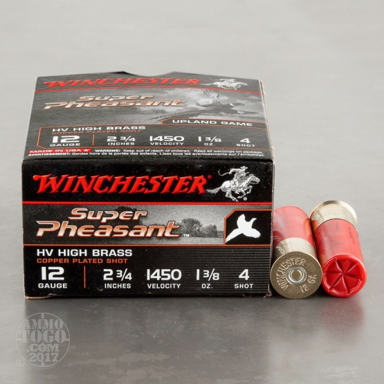 """25rds - 12 Gauge Winchester Super Pheasant 1-3/8 Ounce 2 3/4"""" #4 Shot Ammo"""