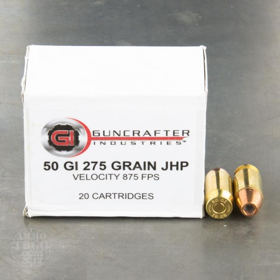 20rds - 50 GI Guncrafter 275gr. Jacketed Hollow Point Ammo