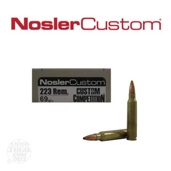 20rds - .223 Nosler Custom Competition 69gr. HPBT Ammo