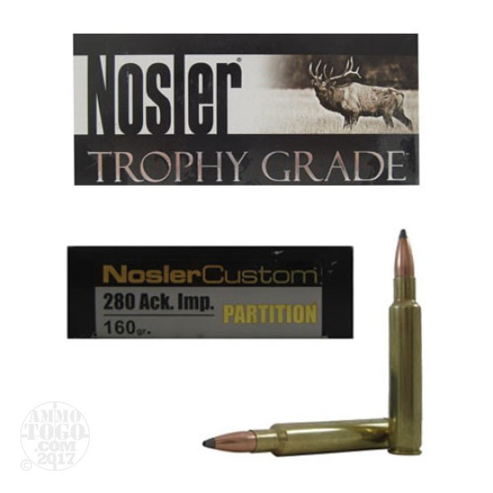 20rds - 280 Ackley Improved Nosler Trophy Grade 160gr. Partition SP Ammo