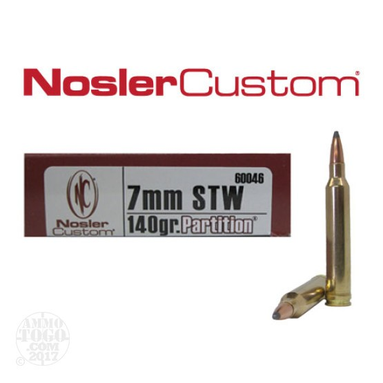 20rds -  7mm STW NoslerCustom 140gr. Partition Ammo