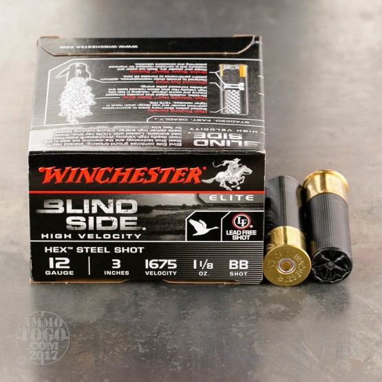"25rds – 12 Gauge Winchester Blind Side 3"" 1-1/8 oz. #BB Hex Steel Shot Ammo"