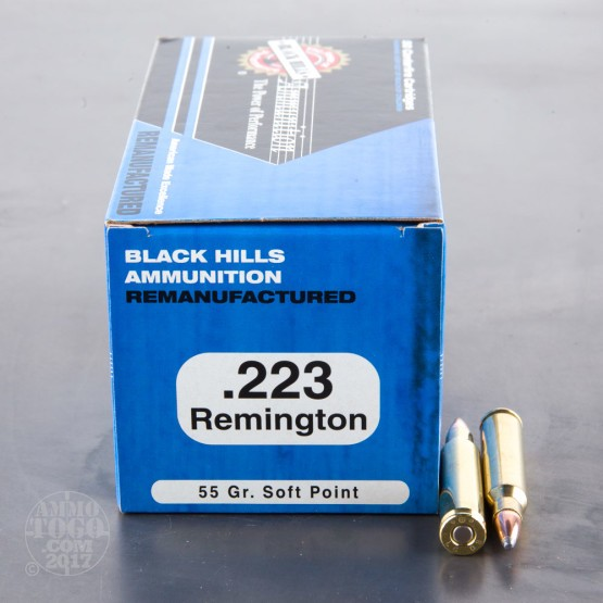 50rds - 223 Black Hills Remanufactured 55gr. SP Ammo