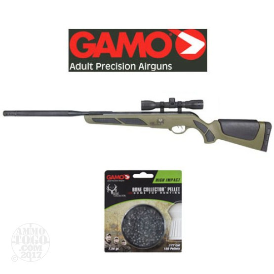 1 - Gamo Bone Collector .177 cal. Bull Whisper Pellet Rifle 4X32 Scope w/ High Impact Pellets