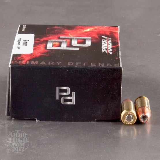 20rds - 9mm Pierce 115gr. JHP Ammo