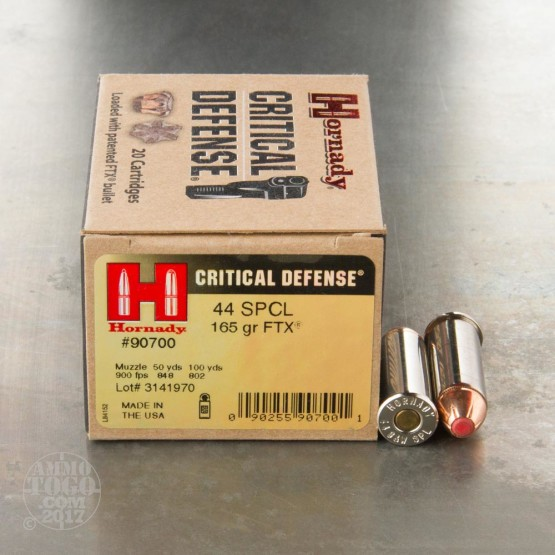 20rds - 44 Special Hornady Critical Defense 165gr. HP Ammo