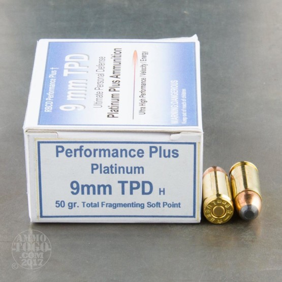 20rds - 9mm RBCD Performance Plus Tactical Personal Defence 50gr. Total Fragmenting Soft Point Ammo