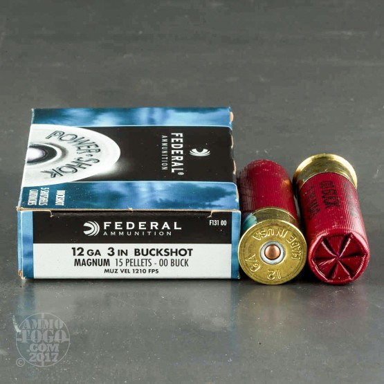 "5rds - 12 Ga. Federal Power-Shok 3"" 00 Buckshot Ammo"