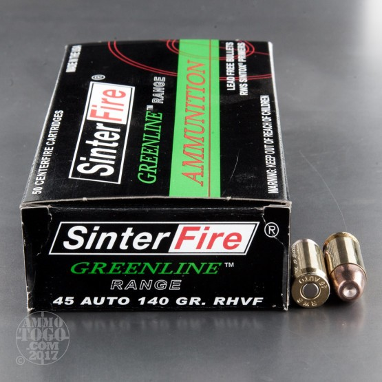 50rds - 45 ACP SinterFire Greenline 140gr. Frangible Ammo