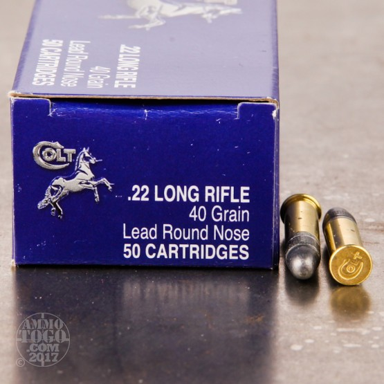 50rds - 22LR Colt Standard Velocity 40gr. Solid Point Ammo