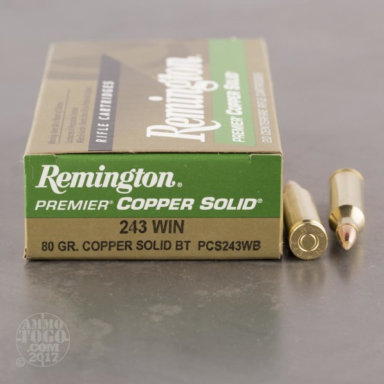 20rds - 243 Win Remington Premier Copper Solid 80gr. Polymer Tip Ammo