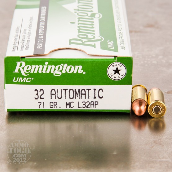 50rds - 32 Auto Remington 71gr. FMJ Ammo