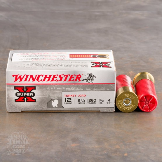 "100rds - 12 Gauge Winchester Super-X 2 3/4""  1 1/2oz.  #4 Turkey Load"