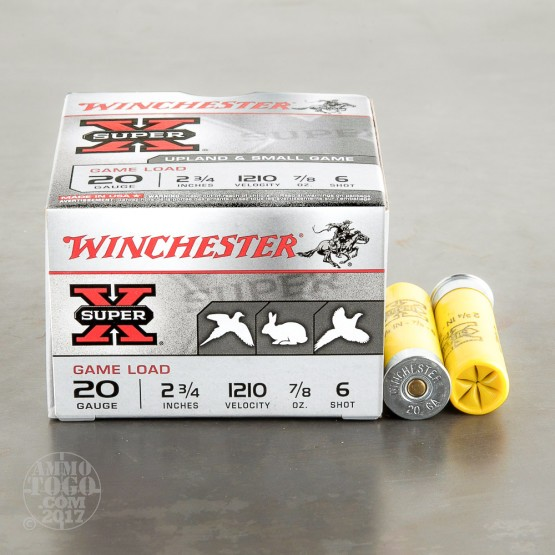 "250rds - 20 Gauge Winchester Super-X Game Load 2 3/4"" 7/8oz. #6 Shot Ammo"