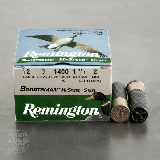 "25rds - 12 Gauge Remington Sportsman Hi-Speed Steel 3"" 1 1/4oz. #2 Shot Ammo"
