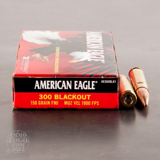 20rds - 300 AAC Blackout Federal American Eagle 150 Grain FMJ Ammo