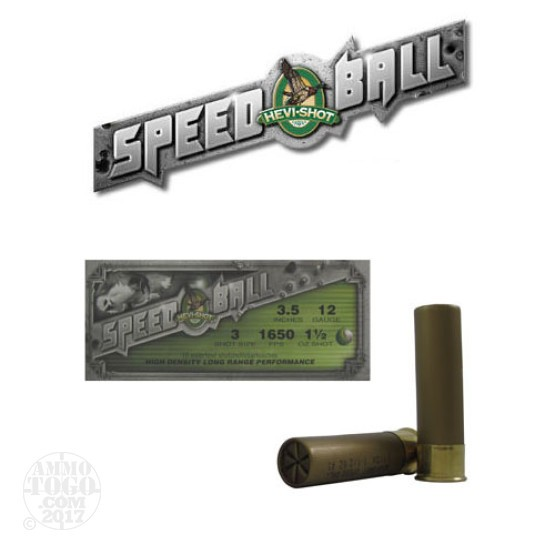 "10rds - 12 Gauge Hevi-Shot Speedball 3 1/2"" 1 1/2oz. #3 Shot Ammo"