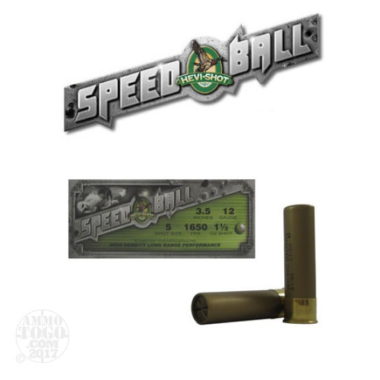 "10rds - 12 Gauge Hevi-Shot Speedball 3 1/2"" 1 1/2""oz. #5 Shot Ammo"