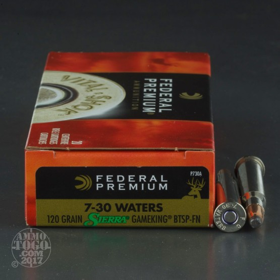20rds - 7x30 Waters Federal Premium 120gr. Sierra GameKing BTSP Ammo