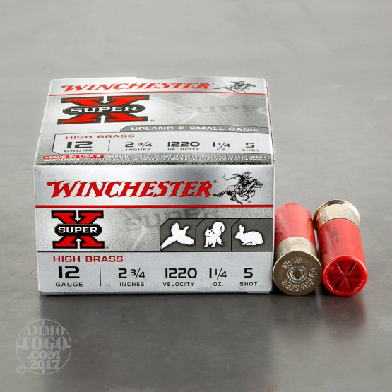 "250rds - 12 Gauge Winchester Super-X Heavy Field Load 2 3/4"" 1 1/4oz. #5 Shot"