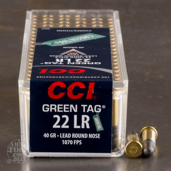 500rds - 22LR CCI Green Tag 40gr. Lead Round Nose Ammo
