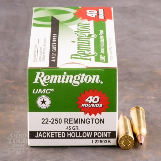 40rds - 22-250 Remington UMC 45gr. JHP Value Pack Ammo