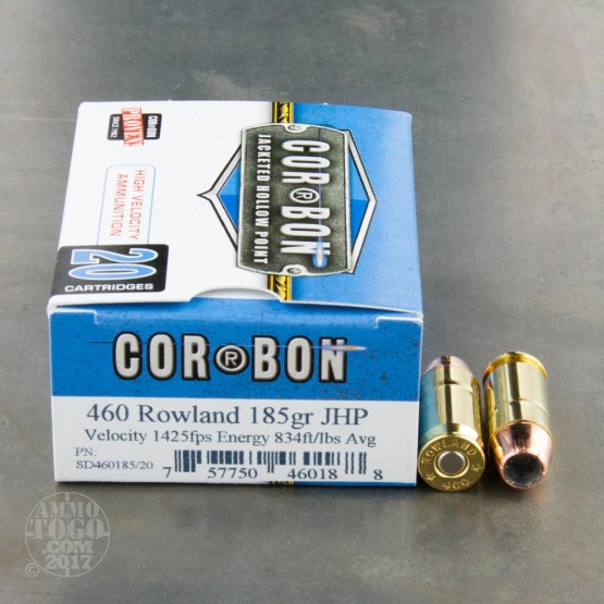 20rds - 460 Rowland Corbon 185gr. Jacketed Hollow Point Ammo