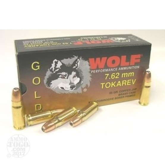 500rds - 7.62x25 Tokarov Wolf Gold 85gr. Hollow Point Ammo