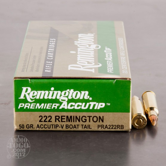 20rds - 222 Remington 50gr. Premier AccuTip-V Boat Tail Ammo