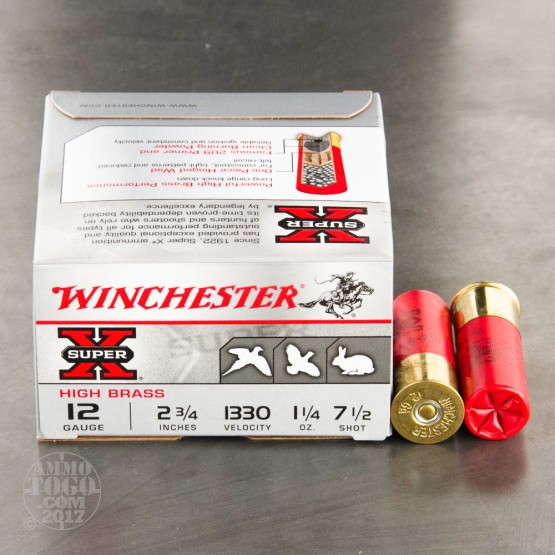 "25rds - 12 Gauge Winchester Super-X Upland & Small Game 2-3/4"" 1-1/4 Ounce #7-1/2 Shot Ammo"