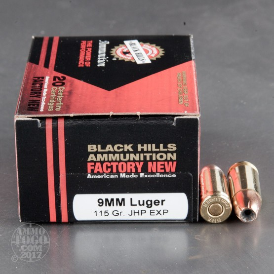 20rds - 9mm Luger New Black Hills 115gr. Jacketed Hollow Point EXP (Extra Power) Ammo