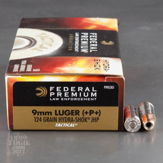 50rds - 9mm Federal LE Tactical Hydra-Shok 124gr. +P+ HP Ammo