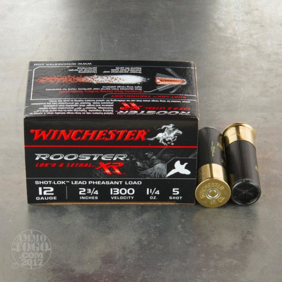 "15rds – 12 Gauge Winchester Rooster XR 2-3/4"" 1-1/4 oz. #5 Shot Ammo"